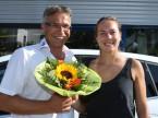 Les fleurs font toujours plaisir : Christian Müller et Stefanie Vögele.